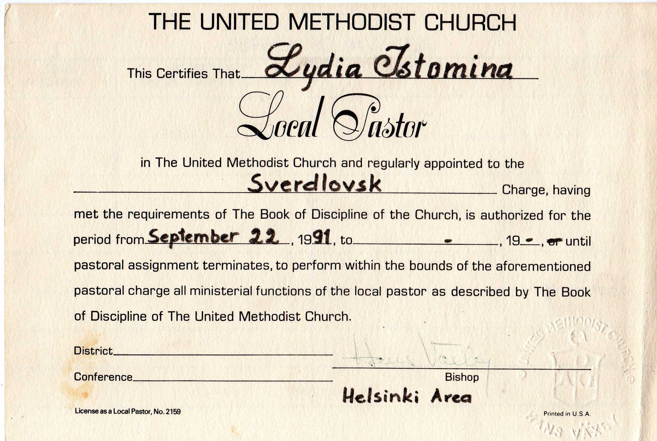 Local Pastor Certificate - Lydia Istomina