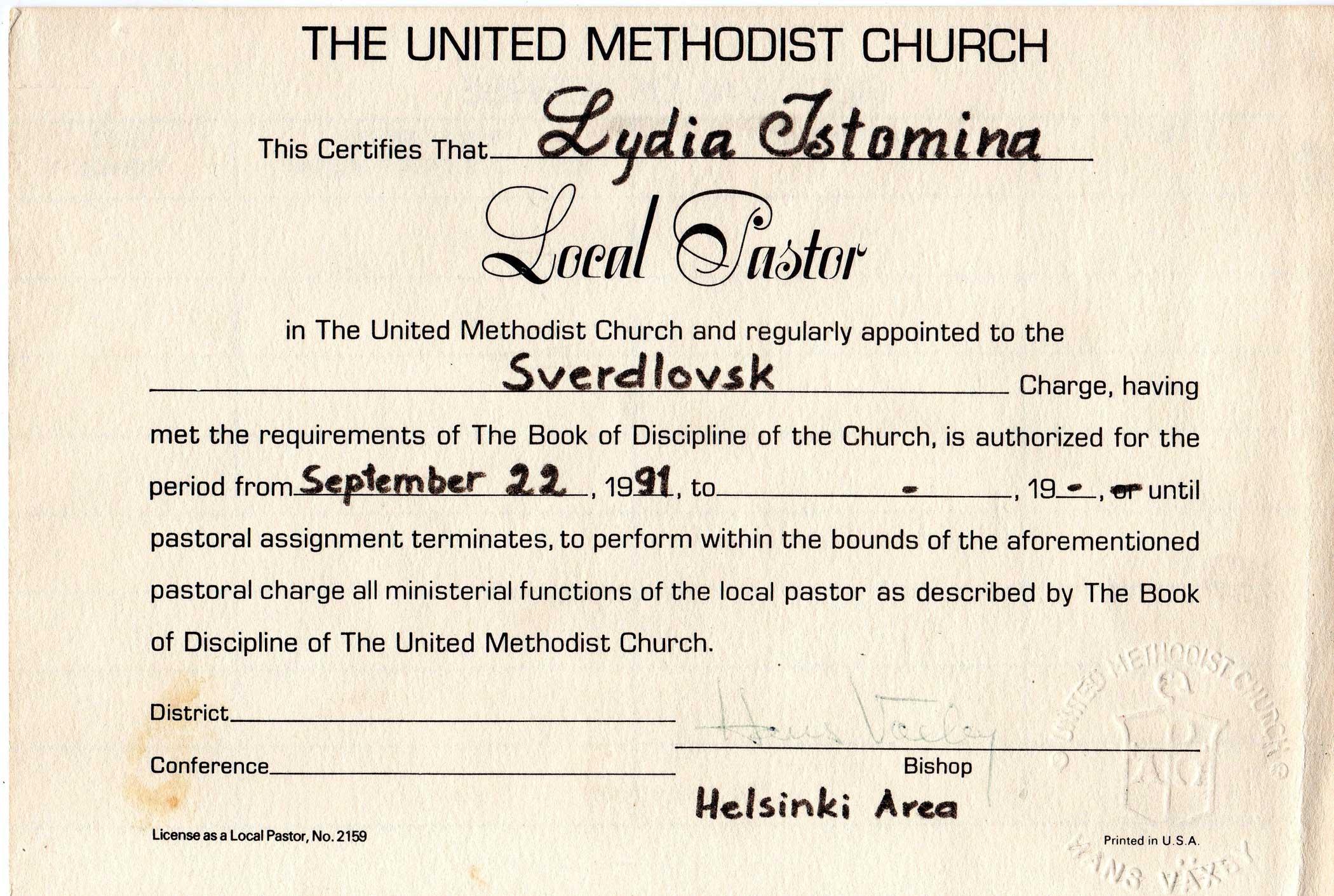 Local Pastor Certificate - Lydia Istomina