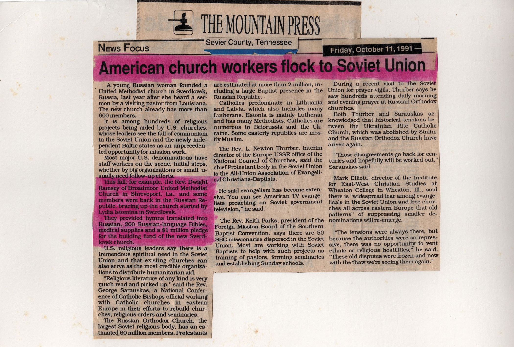 American Church Workers Flock to Soviet Union - Oct 1, 1991, The Mountain Press